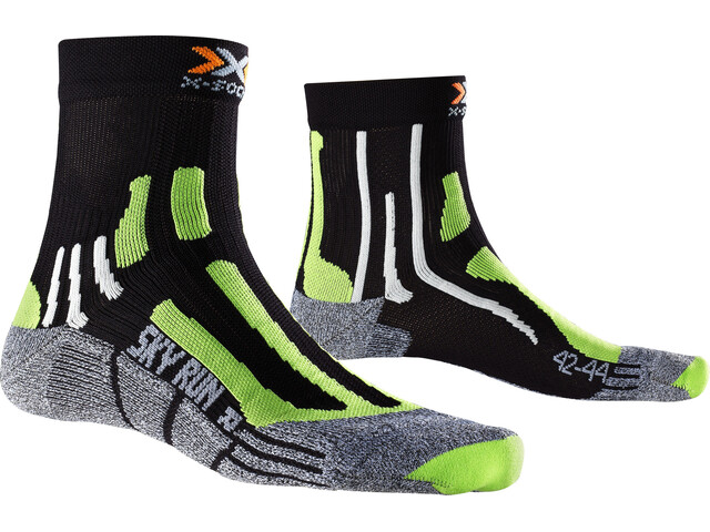 X-Socks Sky Run V2.0 Socks Black/Green Lime/Mouline Grey